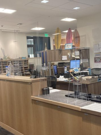 The PCS Front Office now has plexiglass shields installed. Photo by Cleo Roberts