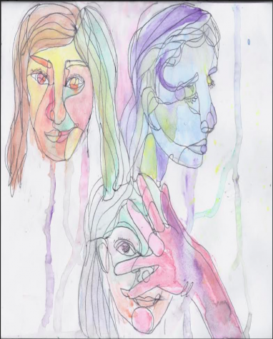 """Faces"" Alexandria Myers, 8th grade. This painting was done with watercolor, which captures the fluidity of the faces and poses perfectly. By combining lots of colors and elements, we get a feel of creativity and strong emotions."